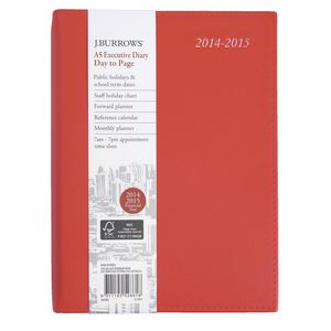 J.Burrows A5 Day to Page Executive Financial Diary Red