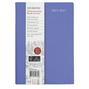 J.Burrows A5 Week to View  Executive Financial Diary Purple