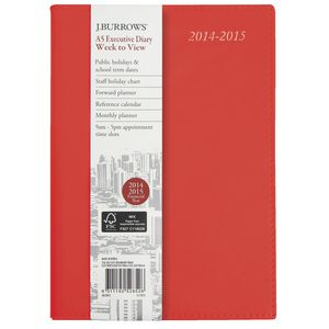 J.Burrows A5 Week to View  Executive Financial Diary Red