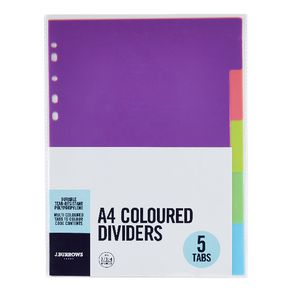 J.Burrows Divider Polypropylene A4 5 Tab Neon