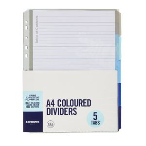J.Burrows A4 Premium 5 Tab Index Dividers Cool Colours