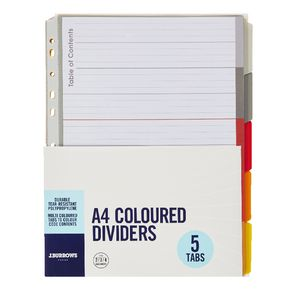 J.Burrows A4 Premium 5 Tab Index Dividers Hot Colours