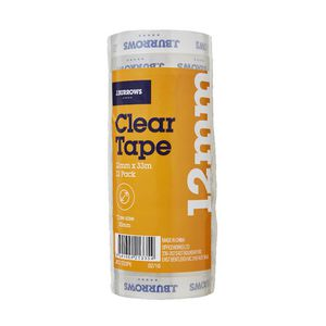 J.Burrows Clear Adhesive Tape 12mm x 33m 12 Pack