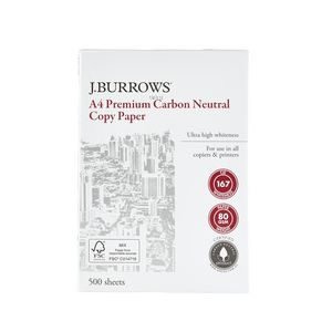 J.Burrows 80gsm A4 Carbon Neutral Copy Paper 500 Sheets