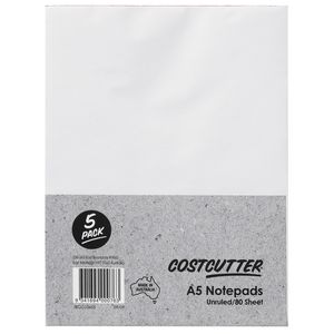 Costcutter Plain A5 Notepad 5 Pack