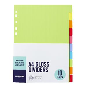 J.Burrows A4 10 Tab Gloss Dividers