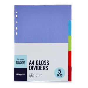J.Burrows Divider Embossed A4 5 Tab