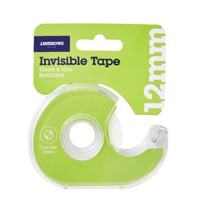 J.Burrows Invisible Adhesive Tape with Dispenser 12mm x 33m