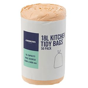 J.Burrows 18L Kitchen Tidy Plastic Bags Rose Scented 50 Pack