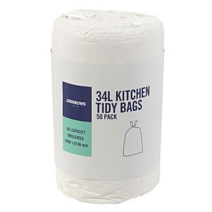J.Burrows 34L Kitchen Tidy Bags Unscented 50 Pack