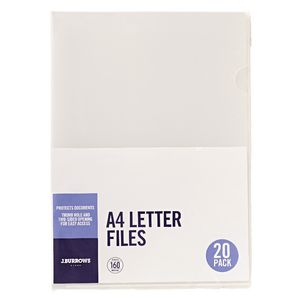 J.Burrows Letter File A4 Clear 20 Pack