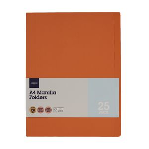 J.Burrows Manilla Folder A4 Orange 25 Pack