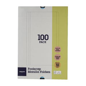 J.Burrows Manilla Folder Foolscap Blue 100 Pack