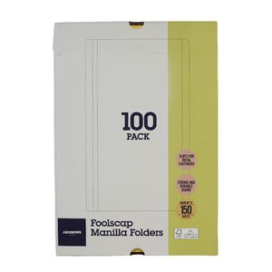 J.Burrows Manilla Folder Foolscap Yellow 100 Pack