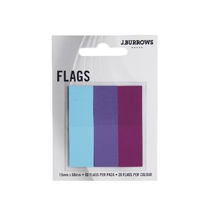 J.Burrows Translucent Flags 15 x 50mm Purple and Blue 3 Pack