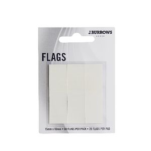 J.Burrows Translucent Flags 15 x 50mm White 3 Pack