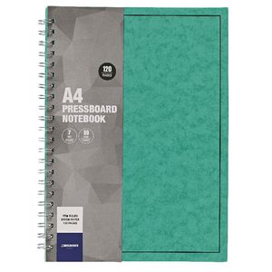 J.Burrows A4 Hard Cover Pressboard Notebook Green