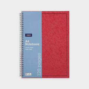 J.Burrows A4 Hard Cover Pressboard Notebook Red