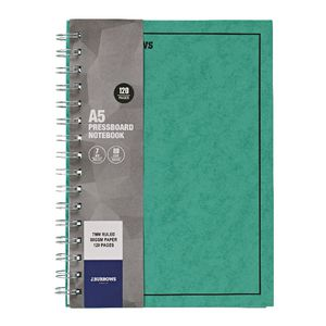 J.Burrows A5 Hard Cover Pressboard Notebook Green