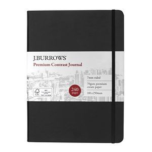 J.Burrows Journal 181 x 250mm Black with Black Elastic