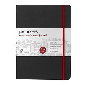 J.Burrows Journal 181 x 250mm Black with Cherry Elastic