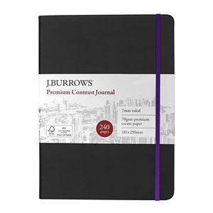 J.Burrows Journal 181 x 250mm Black with Purple Elastic
