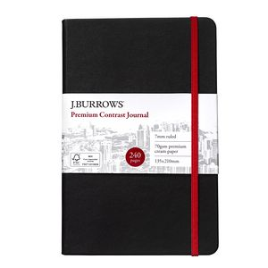 J.Burrows Journal 135 x 210mm Black with Cherry Elastic