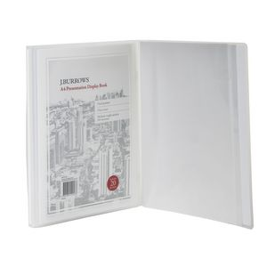 J.Burrows A4 Presentation Display Book with 20 Pockets White