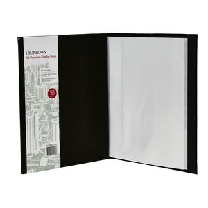 J.Burrows Display Book A4 20 Pocket Fixed Hard Cover Black