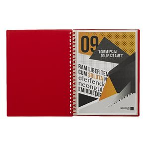 J.Burrows Display Book A4 20 Pocket Refillable Red