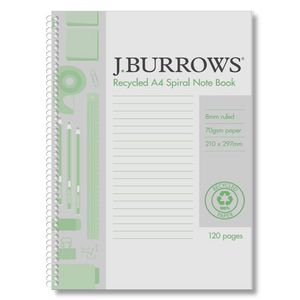 J.Burrows A4 100% Recycled PP Cover Notebook