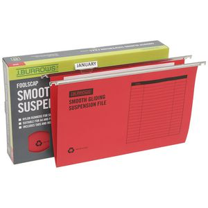 J.Burrows Suspension File Foolscap Red 25 Pack