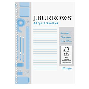 J.Burrows A4 Spiral Notebook 120 Page