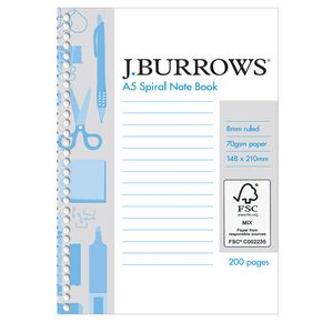 J.Burrows A5 Spiral Notebook 200 Page