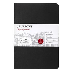 J.Burrows Small Xpress Coloured Journal Black
