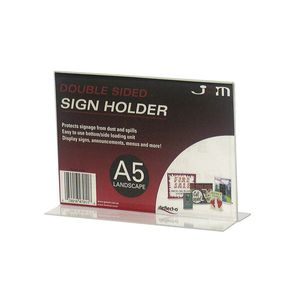 deflect-O Double Sided T-Shape A5 Sign Holder Landscape
