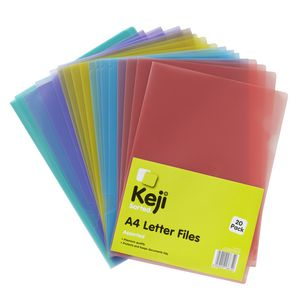 Keji Letter File A4 Assorted Colours 20 Pack