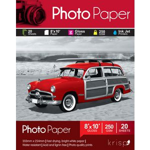 Krisp 250gsm 8 x 10 Glossy Inkjet Photo Paper 20 Sheet Pack