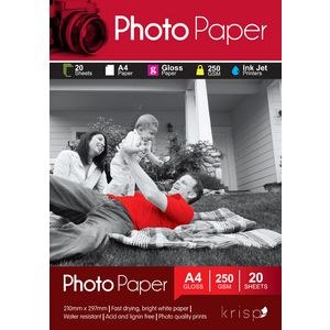 Krisp 250gsm A4 Glossy Inkjet Photo Paper 20 Sheet Pack