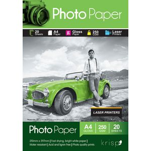 Krisp 250gsm A4 Glossy Laser Photo Paper 20 Sheet Pack