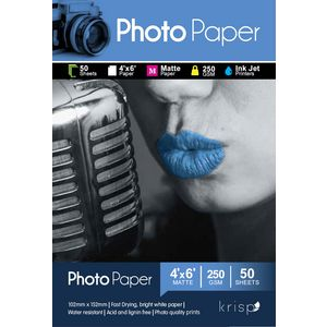Krisp 250gsm 4 x 6 Matte Inkjet Photo Paper 50 Sheet Pack