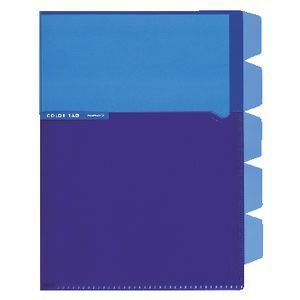 Kokuyo Color Tag A5 Bi-Color Letter File 5 Tab Blue/Purple