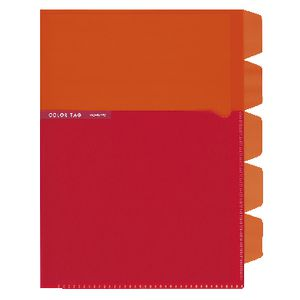 Kokuyo Color Tag A5 Bi-Color Letter File 5 Tab Orange/Red