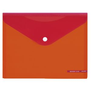 Kokuyo Bi-Color A5 Document Wallet Button Large Orange/Red