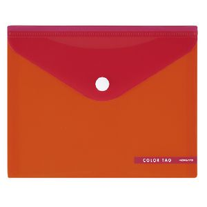 Kokuyo Bi-Color Document  Wallet Button Medium Orange/Red