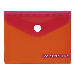 Kokuyo Bi-Color Document Wallet Button Small Orange/Red