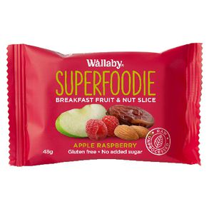 Wallaby Superfoodie Apple and Raspberry Slice 48g