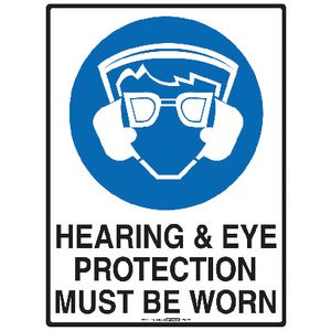 Mills Display Hearing and Eye Protection Sign 225 x 300mm
