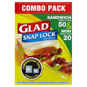 Glad Snaplock Resealable Sandwich Bag Mixed Pack/70