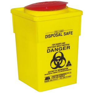 Livingstone Sharps Disposal Container PP Yellow Square 5L